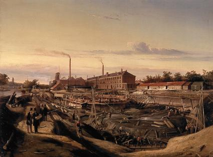 The construction of two gasholders for the Hollandsche Gazfabriek on the Schans, 1847 - Cornelis Springer