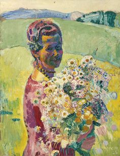 Lady With Flowers - Anna Amiet With Flowers, 1923 - Cuno Amiet