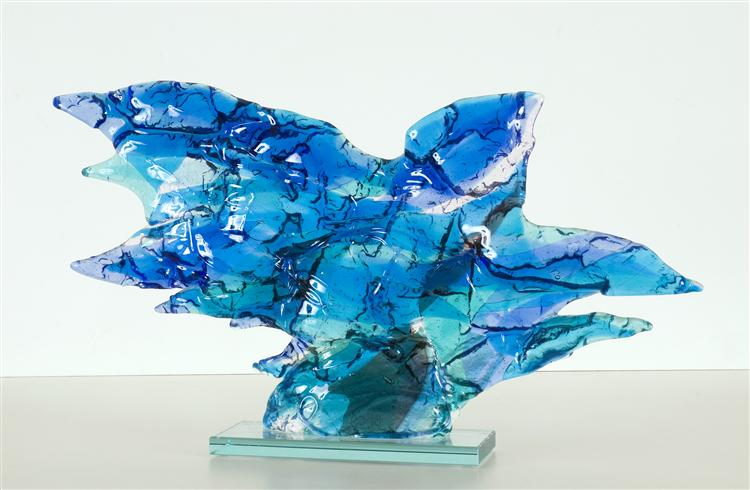 Blue Bird - glass fusing art - abstract glass sculpture, 2009 - Daan Lemaire