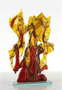 Golden Autumn - glass-fusing  sculpture - Daan Lemaire