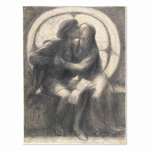 Paolo and Francesca, 1855 - Dante Gabriel Rossetti