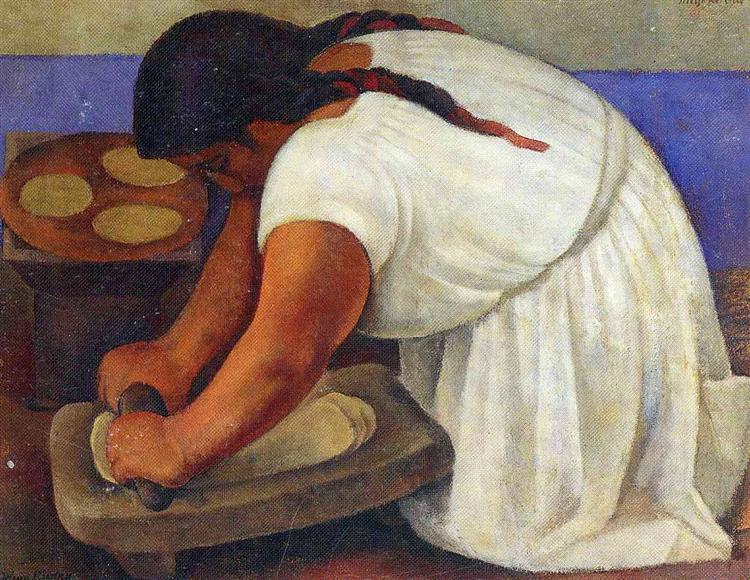 Woman Grinding Maize, 1924 - Диего Ривера