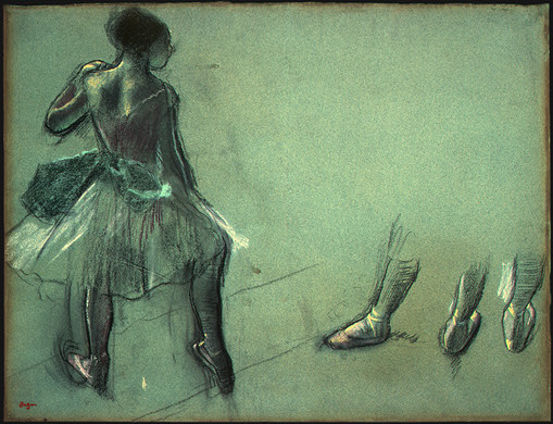 Dancer Seen from Behind and 3 Studies of Feet - Edgar Degas
