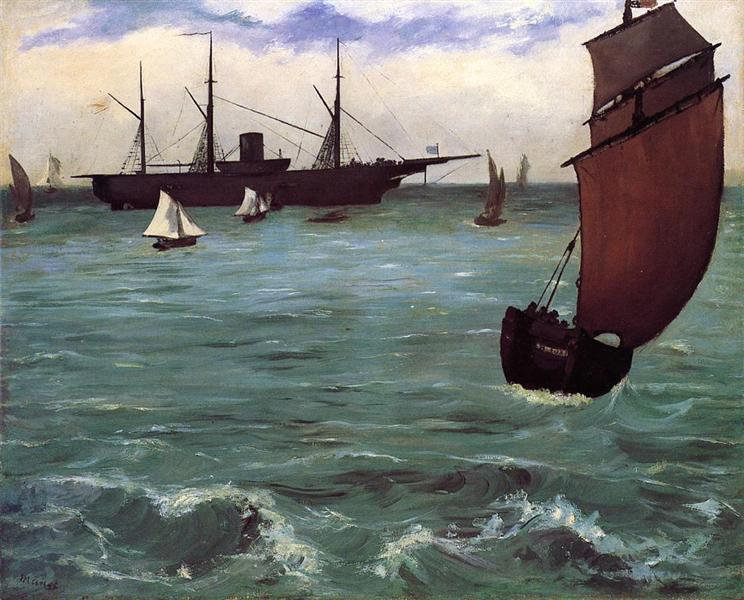 Fishing boat coming in before the wind (The Kearsarge in Boulogne), 1864 - Edouard Manet