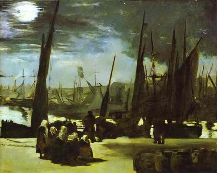 Moonlight on Boulogne Harbour, 1868 - Edouard Manet