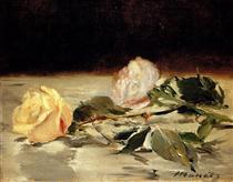 Due rose su una tovaglia - Edouard Manet