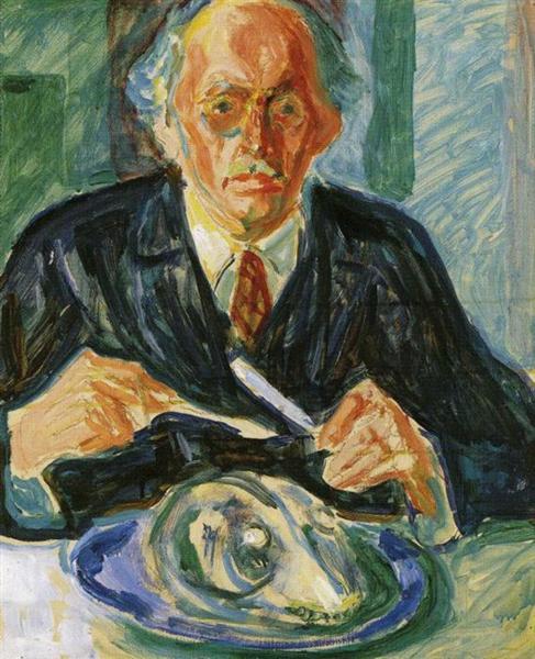 Self-Portrait with Cod's Head, 1940 - Edvard Munch