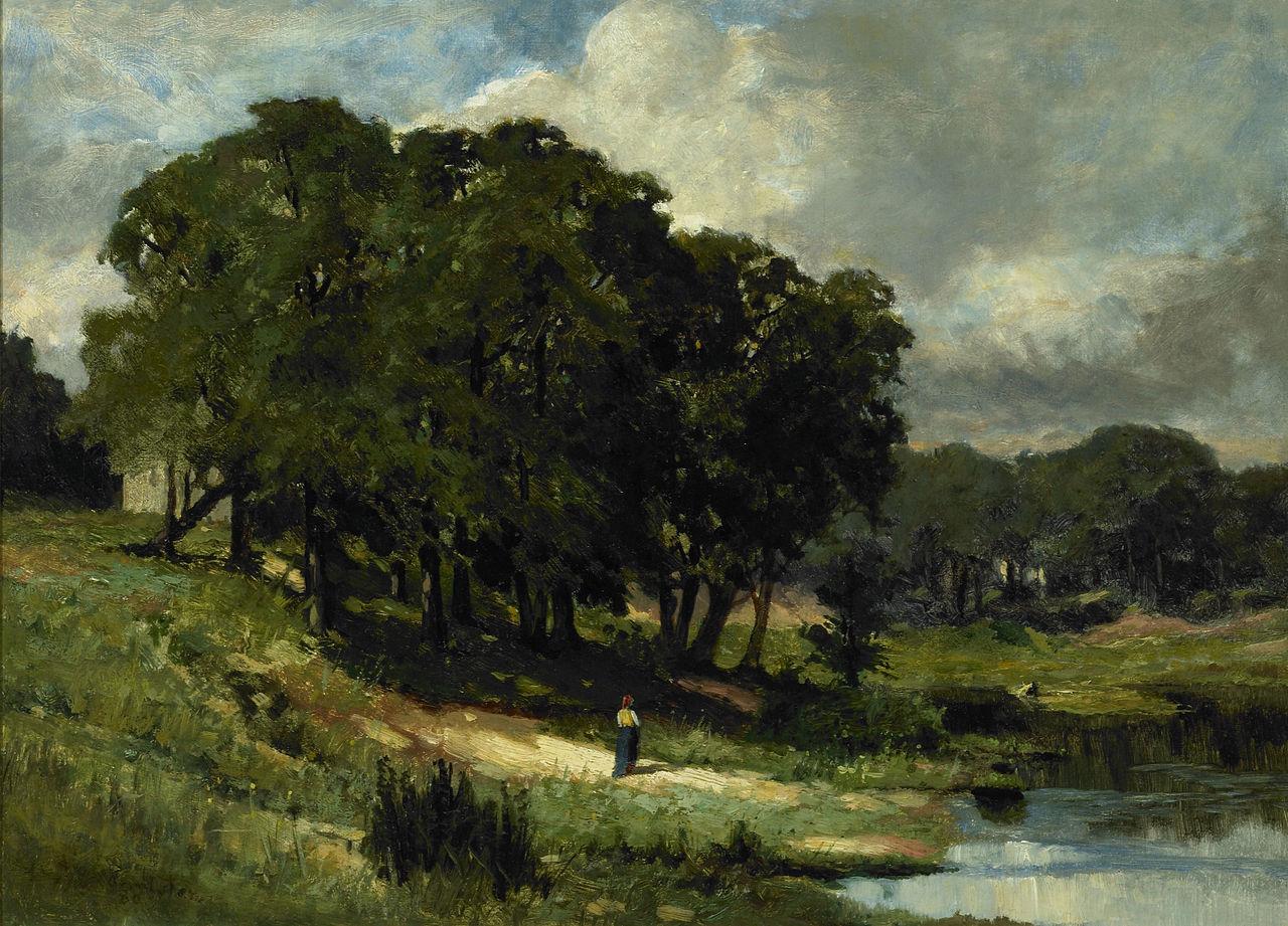 Woman Standing Near A Pond 1880 Edward Mitchell