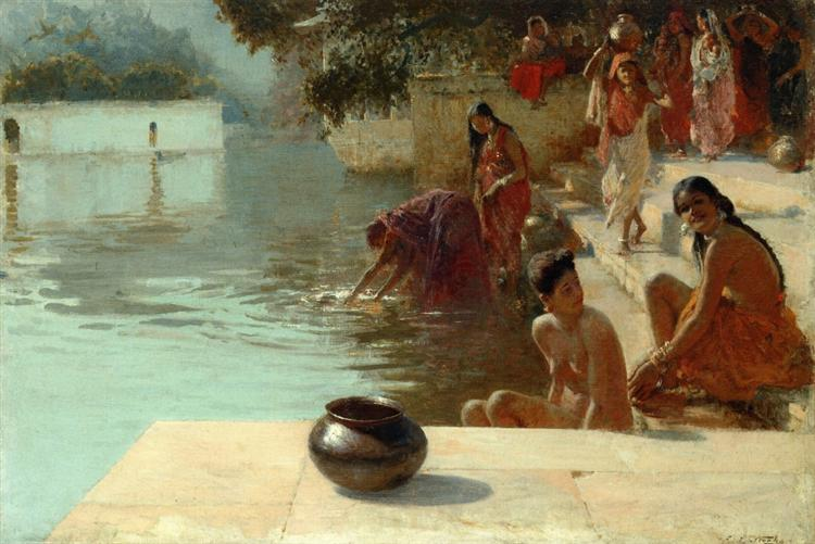 Woman's Bathing Place I Oodeypore, India, c.1895 - Edwin Lord Weeks