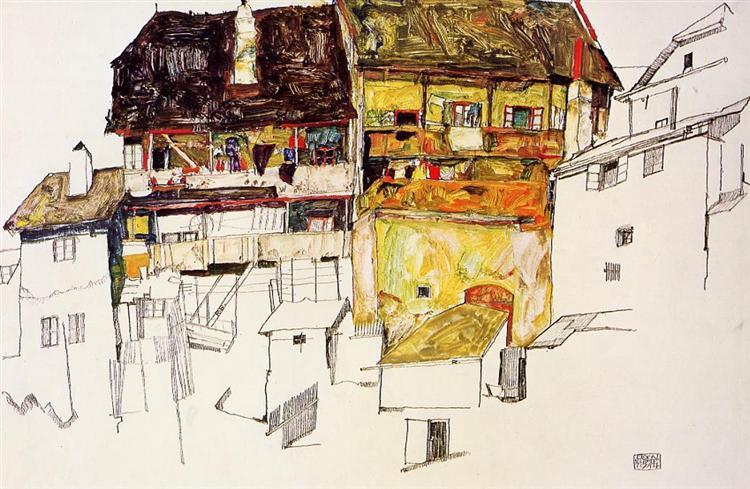 Old Houses in Krumau, 1914 - Egon Schiele