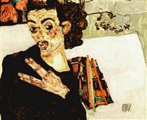 Self-Portrait with Black Vase and Spread Fingers - Эгон Шиле