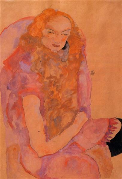 Woman with Long Hair, 1911 - Egon Schiele