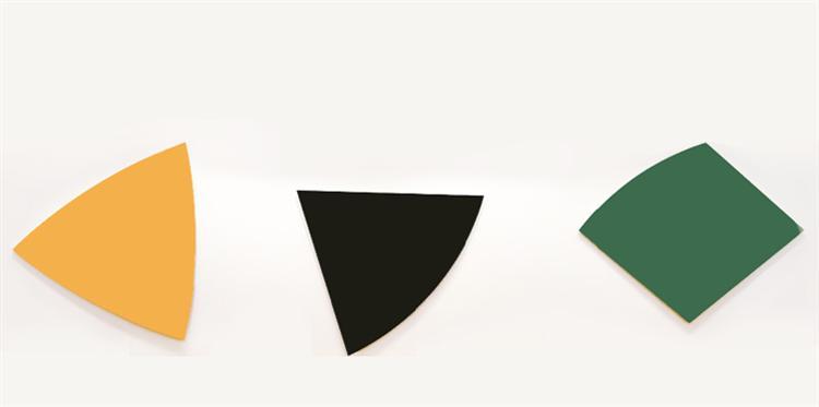 Three Panels: Orange, Dark Gray, Green, 1986 - Ellsworth Kelly