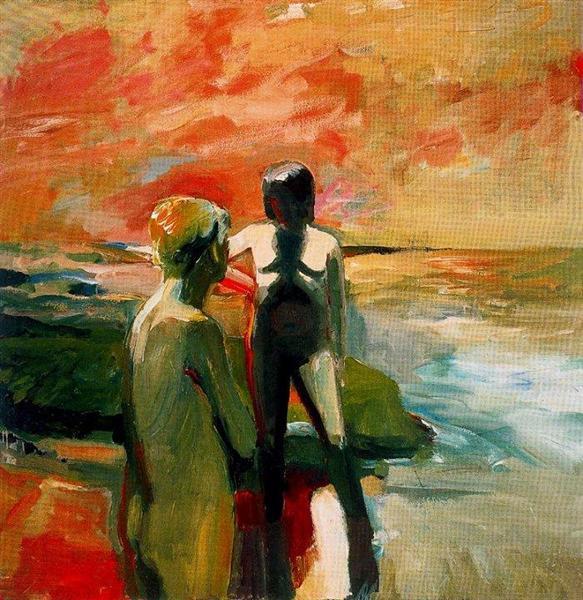 Two Figures At The Seashore 1957 Elmer Bischoff