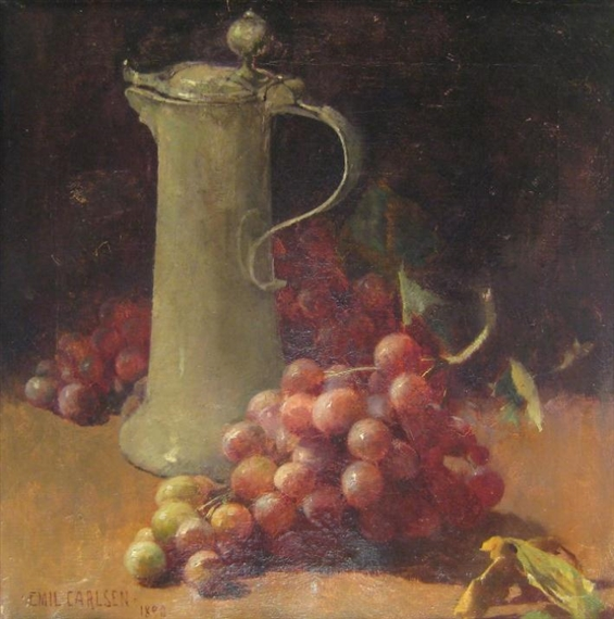 Still life with grapes & pewter flagon, 1890 - Emil Carlsen