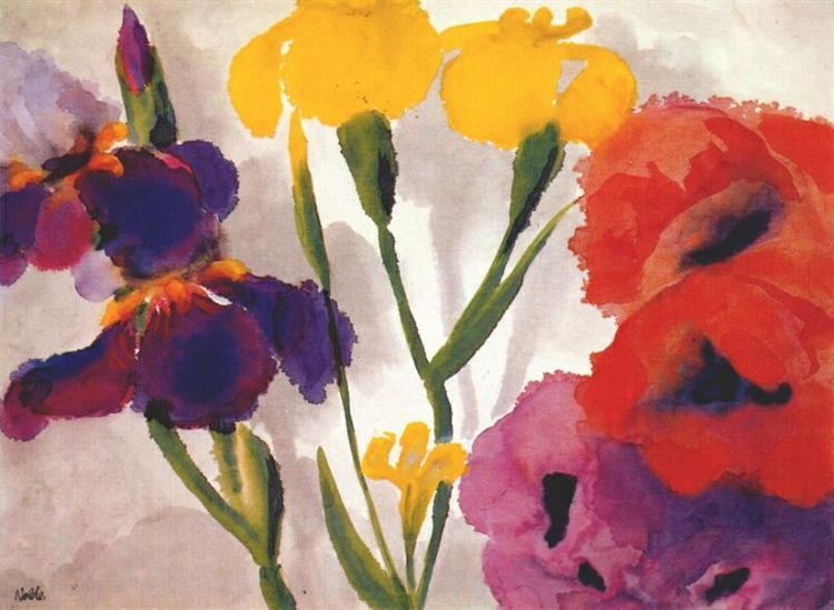 Irises and poppies - Emil Nolde