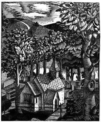Church under a hill, 1927 - Eric Ravilious