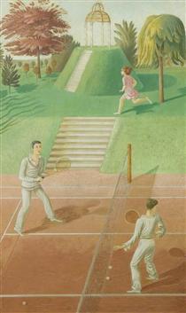 Tennis (triptych, centre panel) - Eric Ravilious