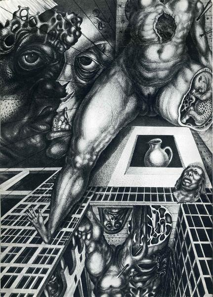 A Woman's Reflection In A Row of  Houses, 1946 - Ernst Fuchs