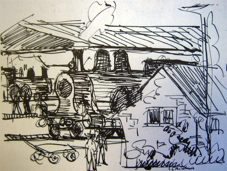 Station in Davos, 1921 - Ernst Ludwig Kirchner