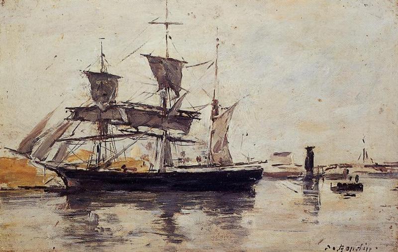 Three Masted Ship at Dock, 1883