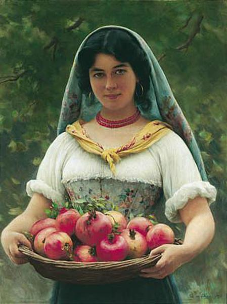 Girl with Pomegranates, 1912 - Эжен де Блаас