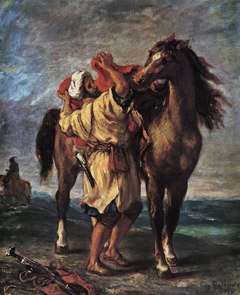 A Moroccan Saddling a Horse, 1855 - Eugene Delacroix