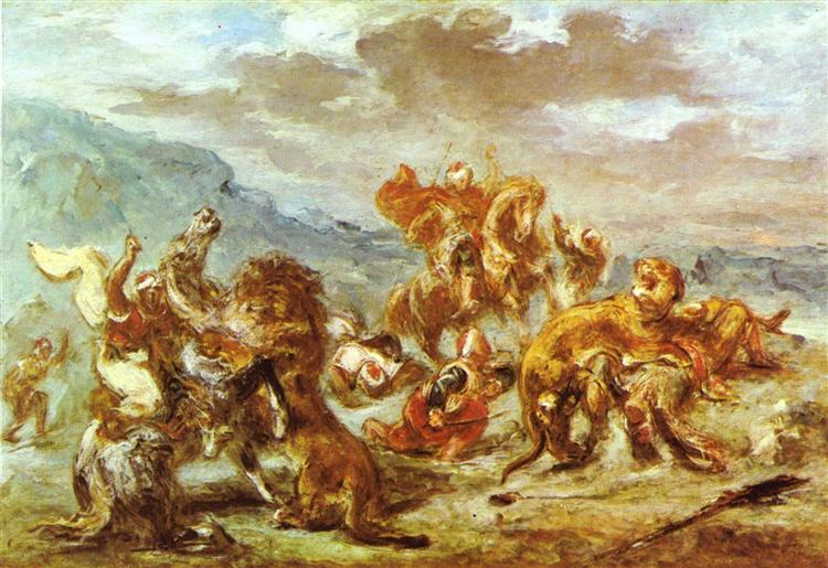 Lion Hunt, c.1860 - Eugene Delacroix