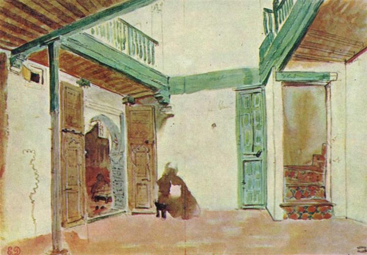 Moroccan courtyard - Eugene Delacroix