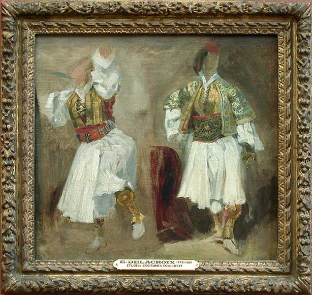 Two Views of costumes Souliotes, 1824 - 1825 - Eugene Delacroix
