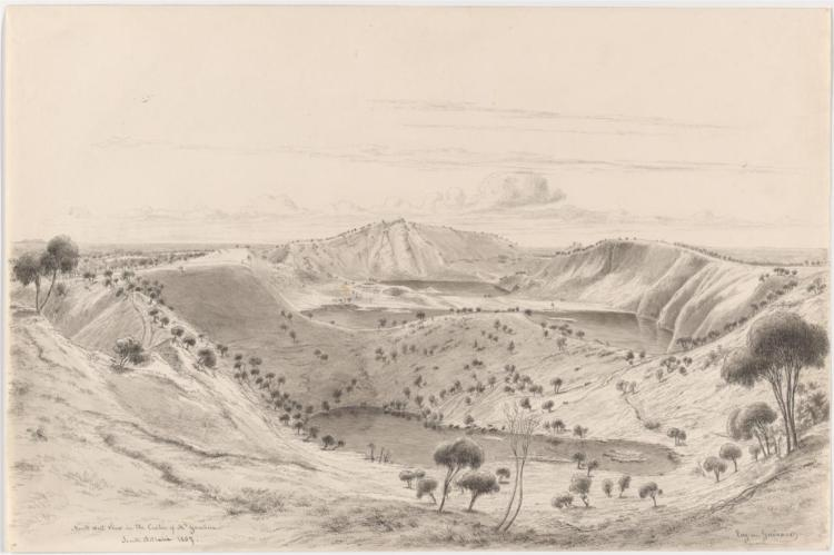 North west view in the crater of Mt Gambier, South Australia, 1857 - Eugene von Guerard
