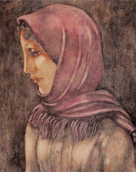 Girl in a Pink Shawl, 1913 - Eugeniusz Zak