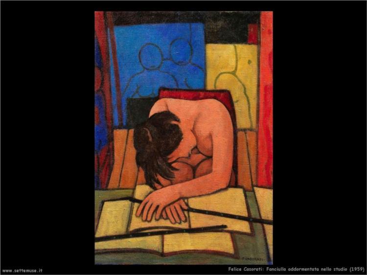 Fanciulla addormentata nello studio, 1959 - Felice Casorati