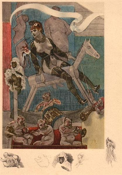 Woman on a Rocking Horse, 1870 - Félicien Rops