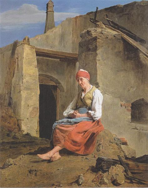At the ruins of the fire, 1847 - Ferdinand Georg Waldmüller