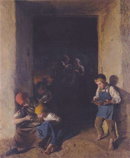Children received their breakfast, 1859 - Ferdinand Georg Waldmüller