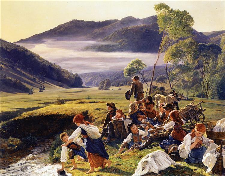 The pilgrims resting, 1859 - Фердинанд Георг Вальдмюллер