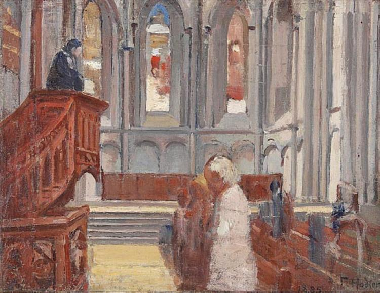 Prayer in the Cathedral of St. Pierre, Geneva, 1882 - Ferdinand Hodler