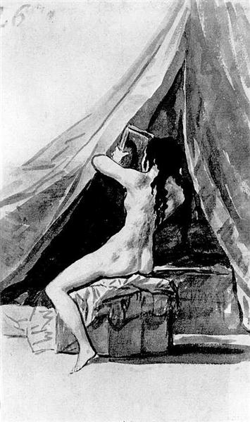 Naked girl looking in the mirror, c.1796 - c.1797 - Francisco Goya