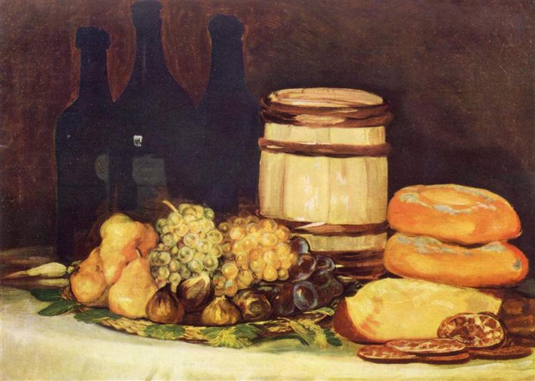 Still life with fruit, bottles, breads, 1824 - 1826 - Francisco Goya