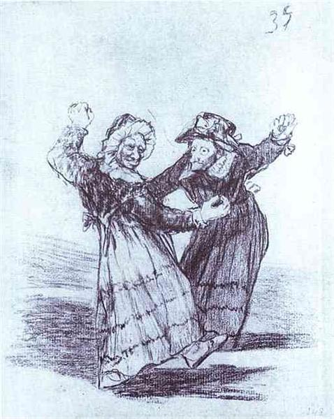 Two Dancing Old Friends, 1828 - Francisco Goya