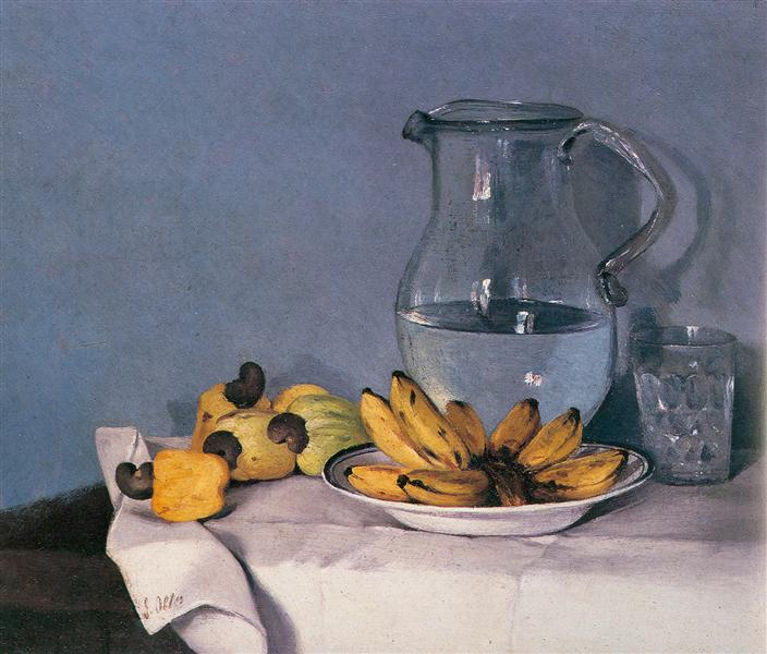 Bodegón de guineos, jarra y pajuiles - Francisco Oller