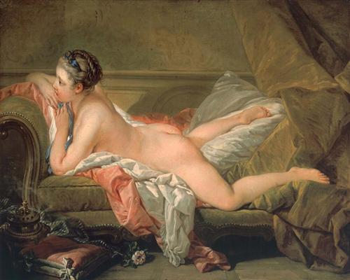 Portrait of Marie-Louis O'Murphy (Nude on a Sofa) - Francois Boucher