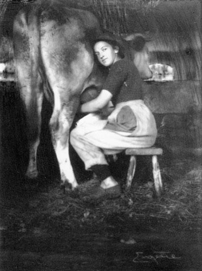 Woman Milking Cow - Frank Eugene