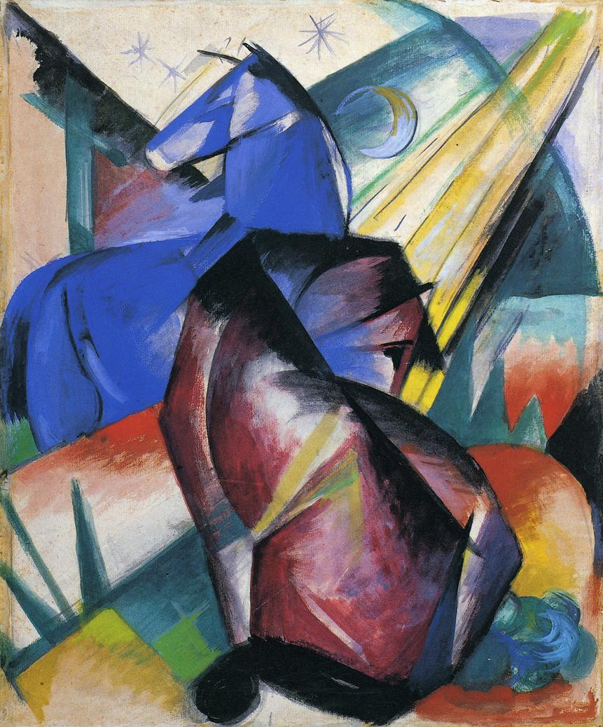 Two Horses, Red and Blue, 1912 - Franz Marc - WikiArt.org