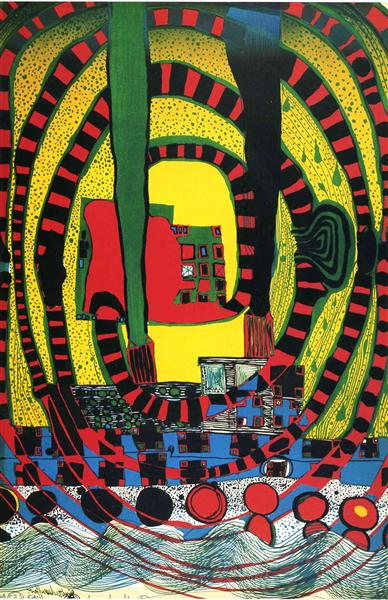 652 Jorney II and travel by rail, 1967 - Friedensreich Hundertwasser