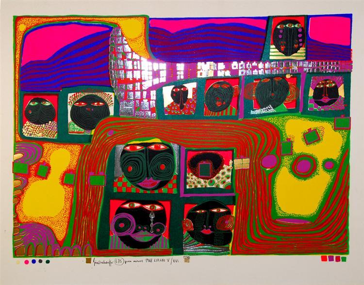 675 Kingdom of the Toro, 1968 - Friedensreich Hundertwasser