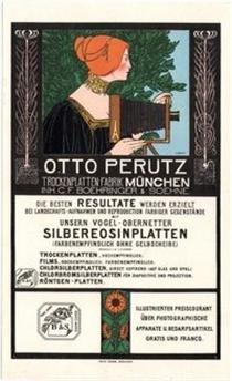 Otto Perutz Lithographic Advertising Card - Fritz Rehm