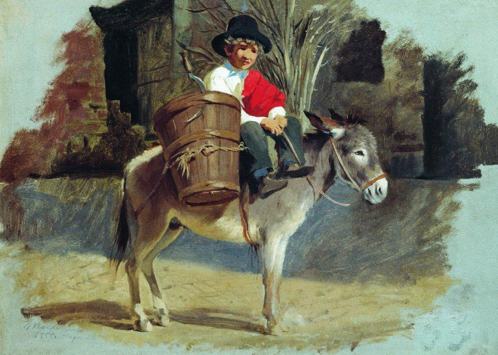 A boy on a donkey, 1855