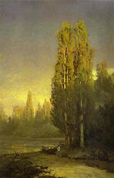 Poplars Lit by the Sun - Fyodor Vasilyev
